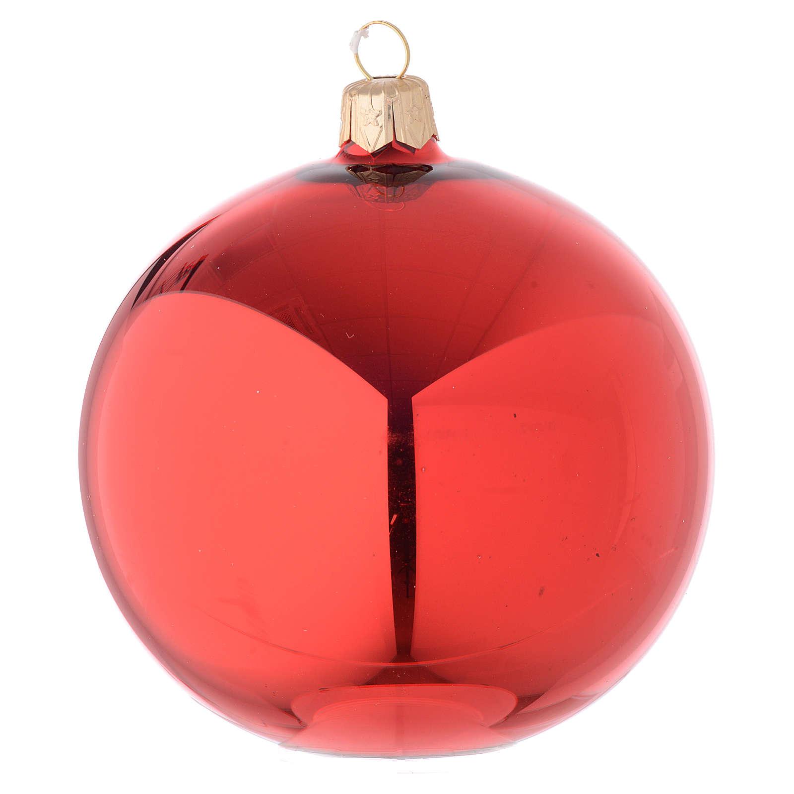 Bola de Navidad de vidrio rojo lúcido 100 mm 4