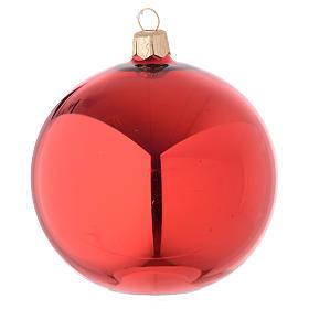 Boule verre rouge brillant 100 mm s1