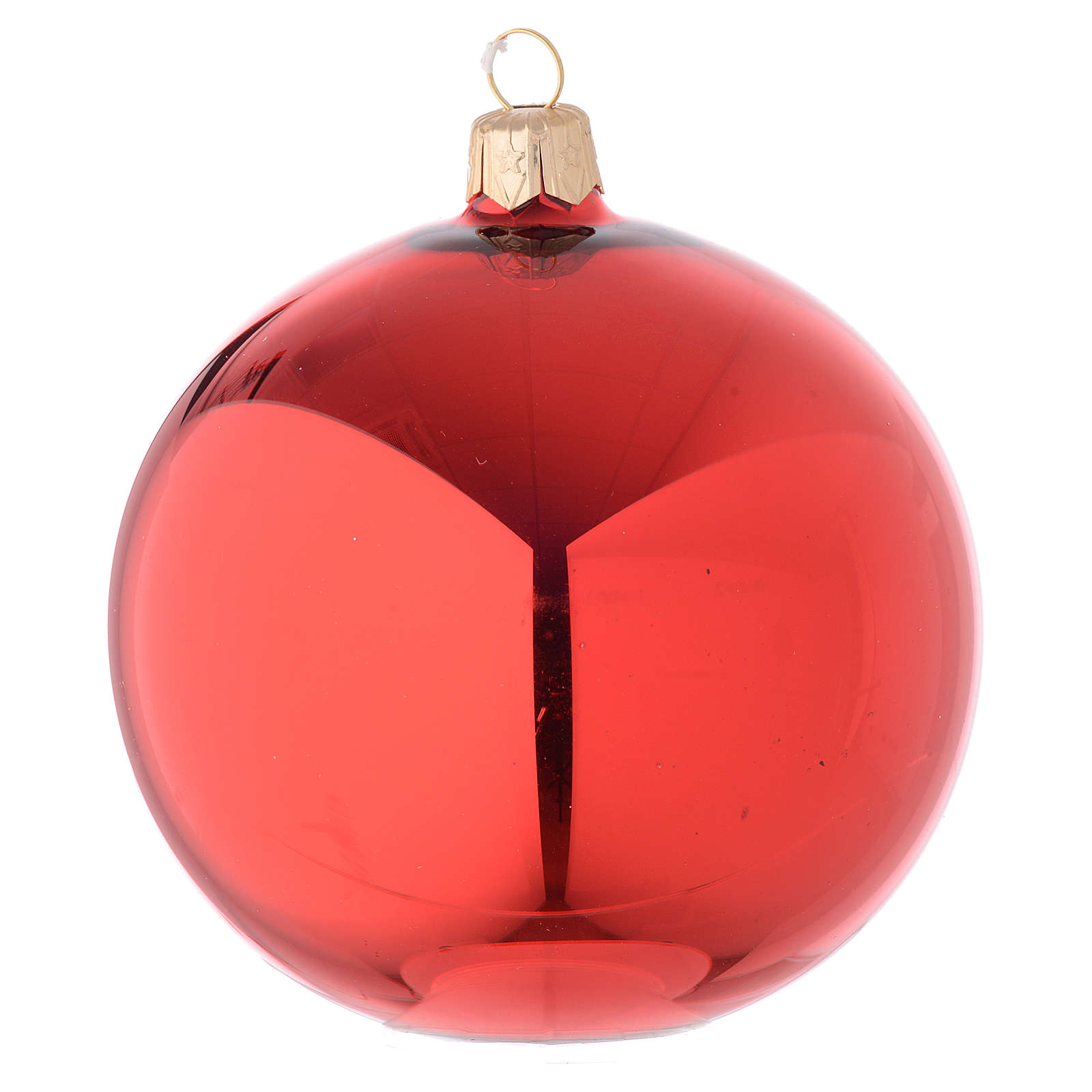 Bauble in red blown glass with shiny finish 100mm 4