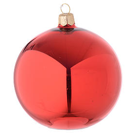 Bauble in red blown glass with shiny finish 100mm s1