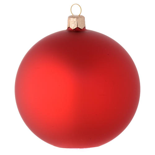 Bauble in red blown glass with satin finish 100mm 1