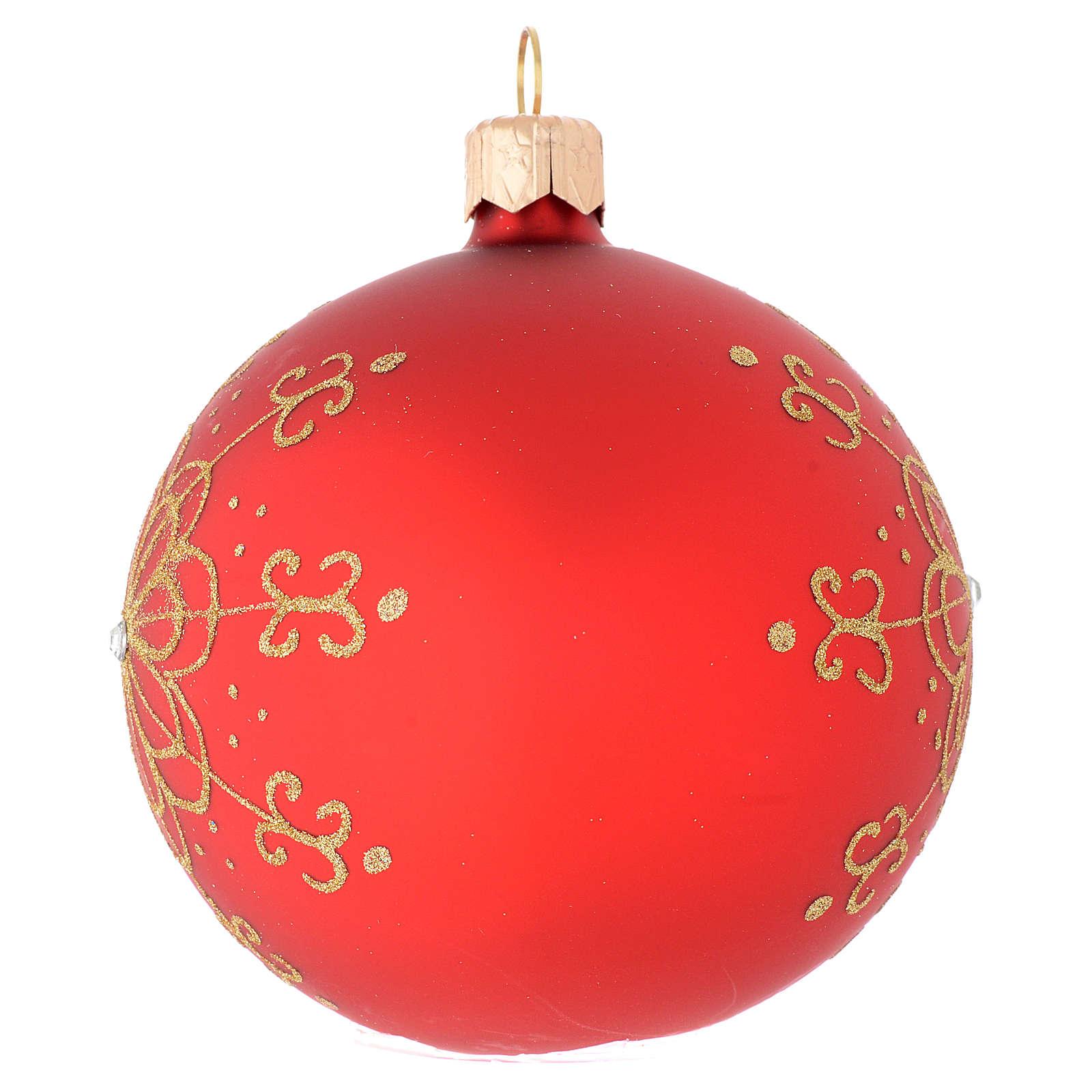 Bola de Navidad de vidrio soplado con flor dorada 80 mm 4