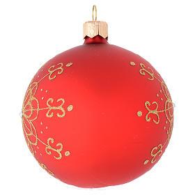 Bola de Navidad de vidrio soplado con flor dorada 80 mm s2