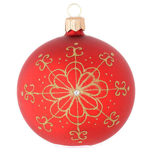 Bauble in red blown glass with golden flower 80mm 1