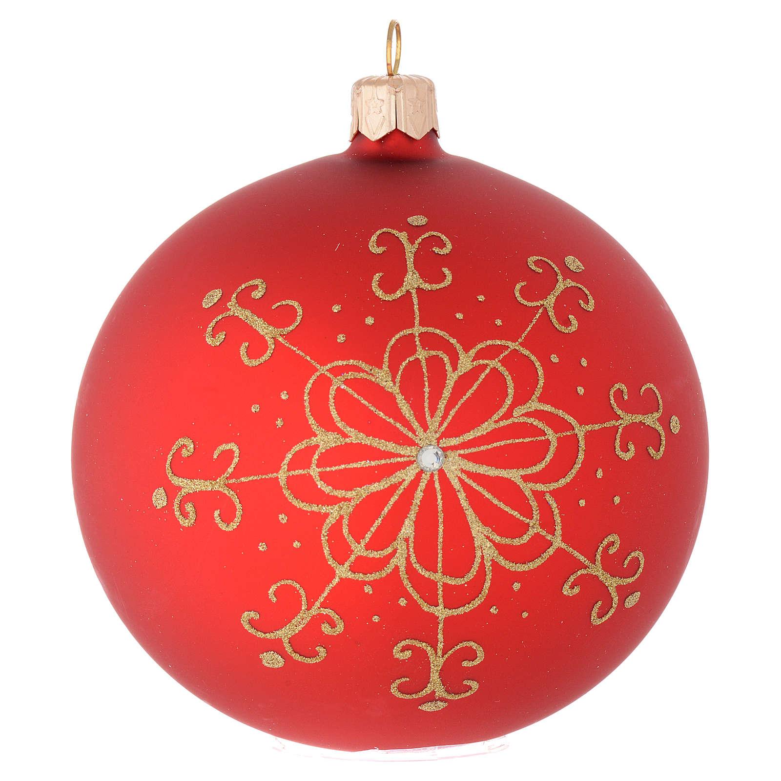Bola de Navidad de vidrio con flor dorada 100 mm 4