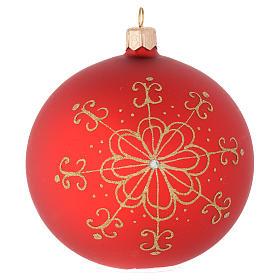 Bola de Navidad de vidrio con flor dorada 100 mm s1