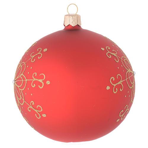 Bola de Navidad de vidrio con flor dorada 100 mm 2