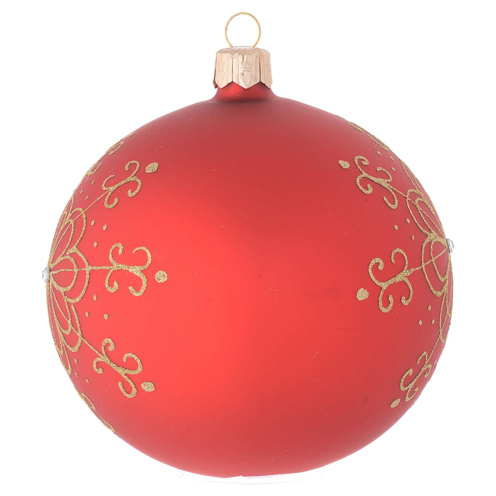 Bombka bożonarodzeniowa  szkło dmuchane dekoracje kwiaty złote 100mm 4