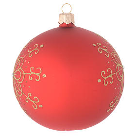 Bombka bożonarodzeniowa  szkło dmuchane dekoracje kwiaty złote 100mm s2