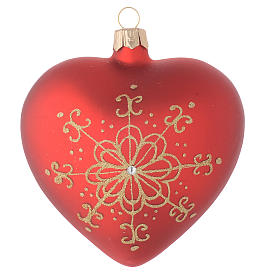 Heart Shaped Bauble in red blown glass with golden flower 100mm s1