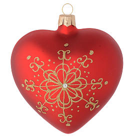 Heart Shaped Bauble in red blown glass with golden flower 100mm s2