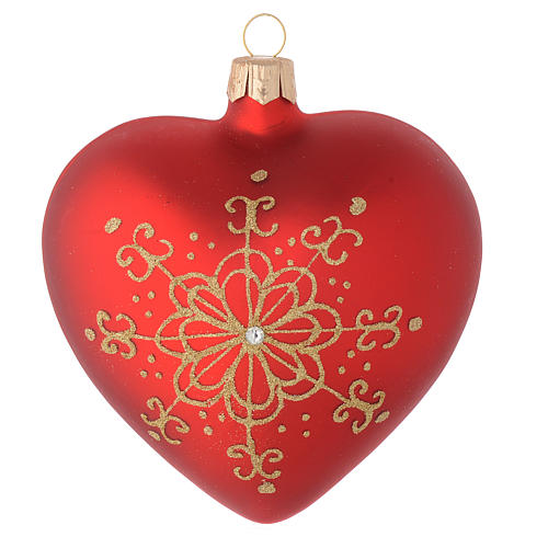 Heart Shaped Bauble in red blown glass with golden flower 100mm 2