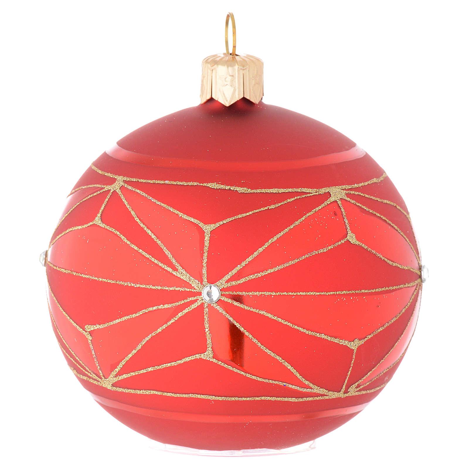 Bola de Navidad de vidrio con decoraciones geométricas doradas 80 mm 4