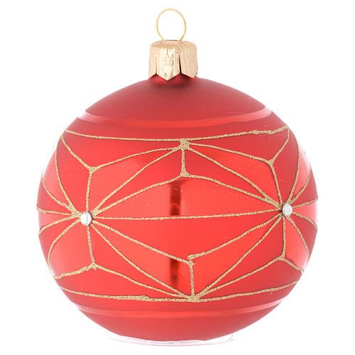 Bola de Navidad de vidrio con decoraciones geométricas doradas 80 mm 1