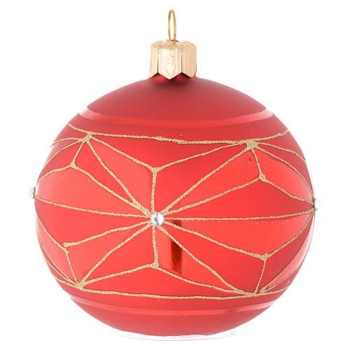 Bola de Navidad de vidrio con decoraciones geométricas doradas 80 mm 2