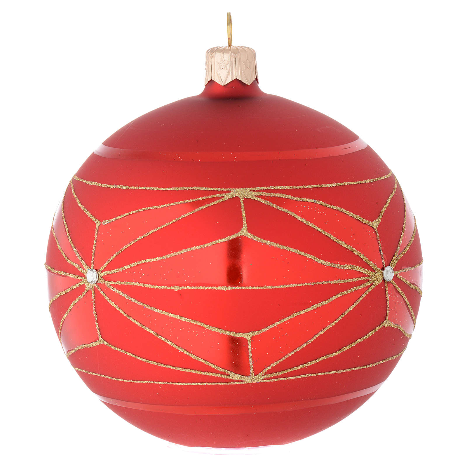 Bauble in red blown glass with geometric motif 100mm 4