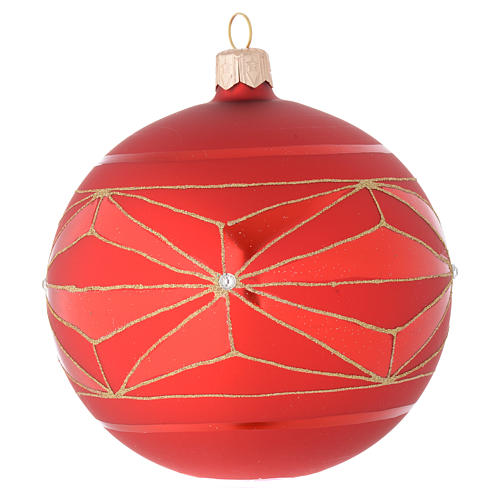 Bauble in red blown glass with geometric motif 100mm 1