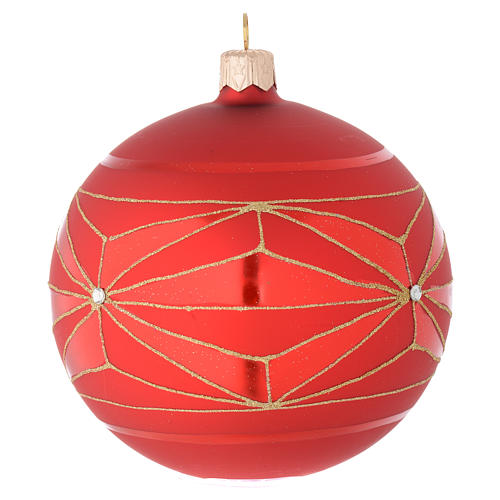 Bauble in red blown glass with geometric motif 100mm 2