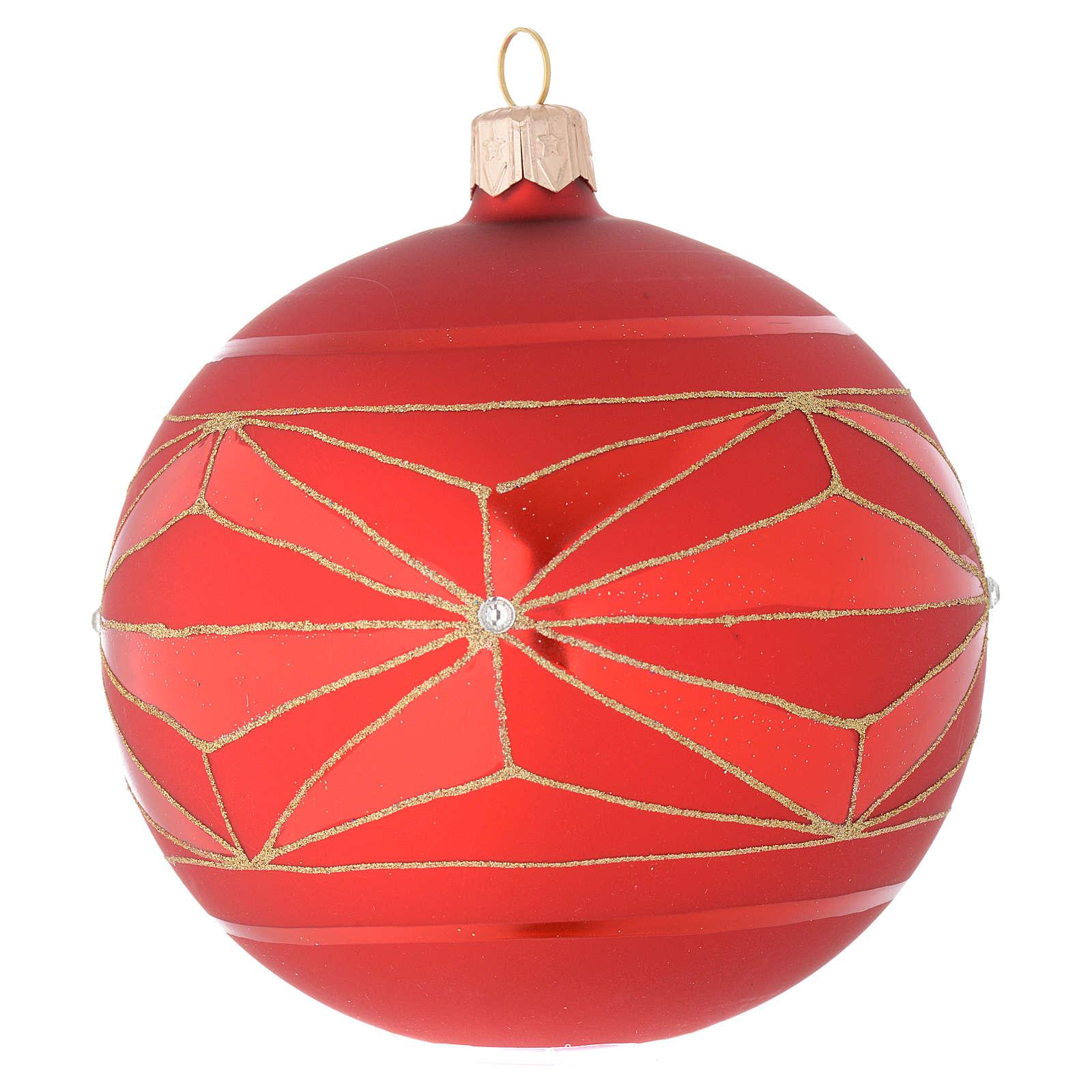 Bola de Navidad de vidrio soplado con decoraciones geométricas doradas 100 mm 4