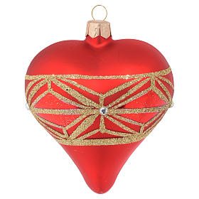 Heart Shaped Bauble in red blown glass with geometric motif 100mm s1