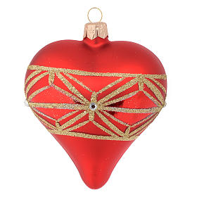 Heart Shaped Bauble in red blown glass with geometric motif 100mm s2