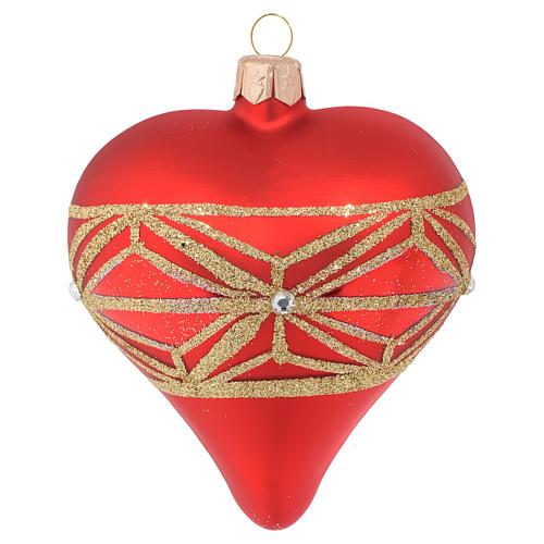Bola de Navidad corazón de vidrio con decoraciones geométricas 100 mm 1