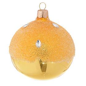 Bolas de Navidad: Bola de Navidad dorada efecto hielo 80 mm
