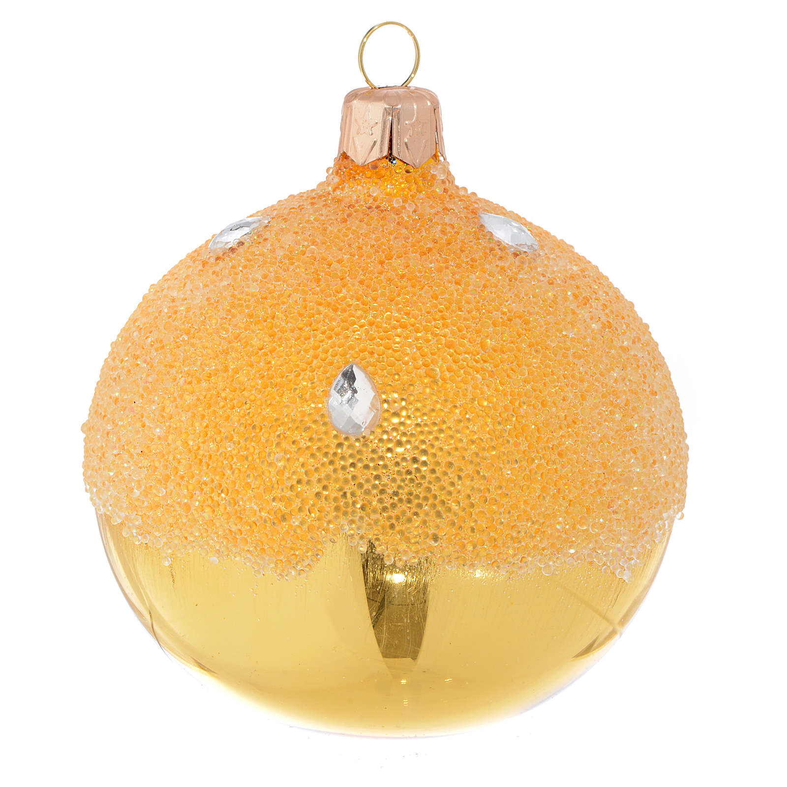 Bauble in gold blown glass with ice effect decoration 80mm 4