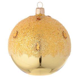Bola de Navidad de vidrio dorado con efecto hielo 100 mm s1