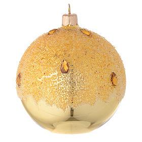 Bola de Navidad de vidrio dorado con efecto hielo 100 mm s2