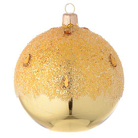 Bauble in gold blown glass with ice effect decoration 100mm s1