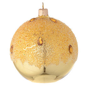 Bauble in gold blown glass with ice effect decoration 100mm s2