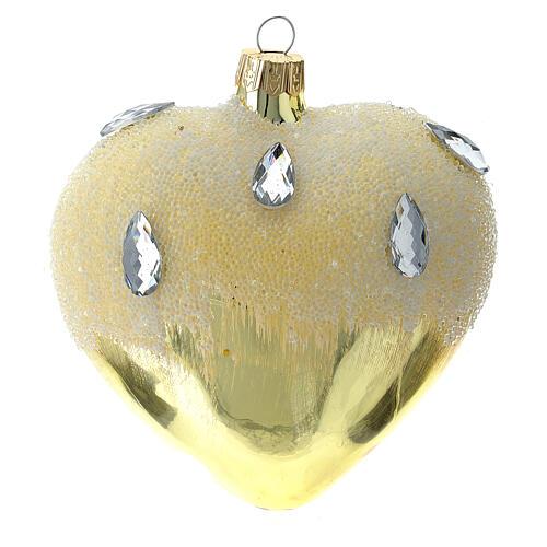 Bola de Navidad corazón de vidrio dorado con efecto hielo 100 mm 1