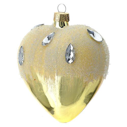 Bola de Navidad corazón de vidrio dorado con efecto hielo 100 mm 2