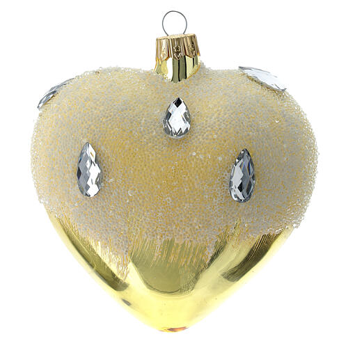 Bola de Navidad corazón de vidrio dorado con efecto hielo 100 mm 3