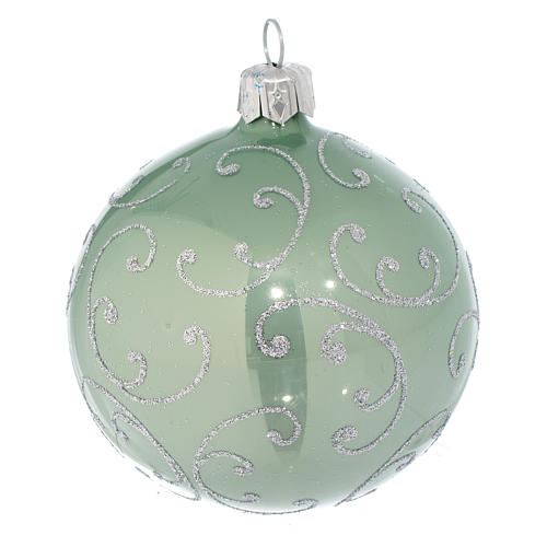 Bauble in pale green blown glass with silver decoration 80mm 2