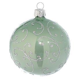 Boule verre vert métallisé et argent 80 mm s1