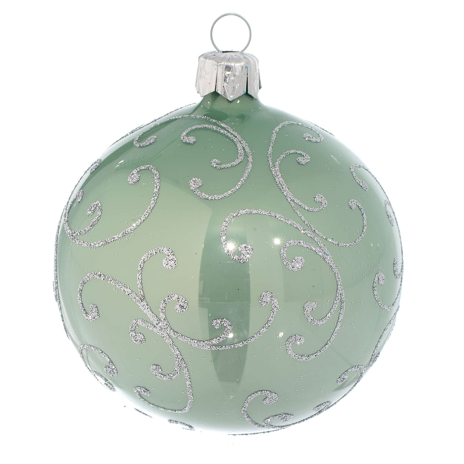 Bauble in pale green blown glass with silver decoration 80mm 4