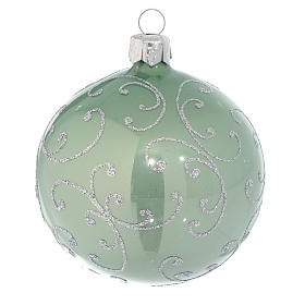 Bauble in pale green blown glass with silver decoration 80mm s1