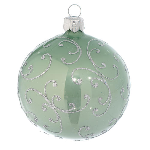 Bauble in pale green blown glass with silver decoration 80mm 1