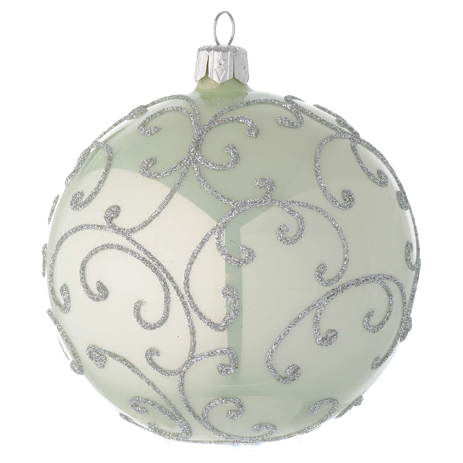 Bauble in pale green blown glass with silver decoration 100mm 4