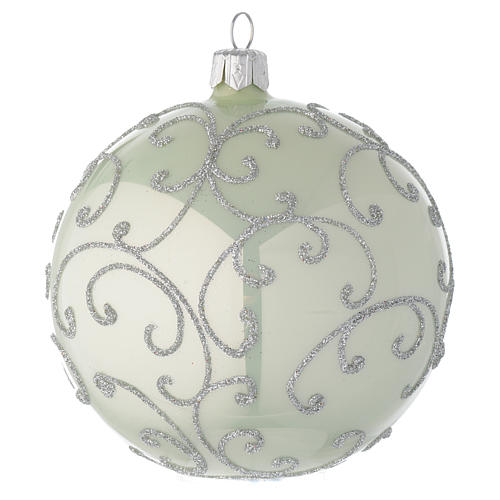 Bauble in pale green blown glass with silver decoration 100mm 1