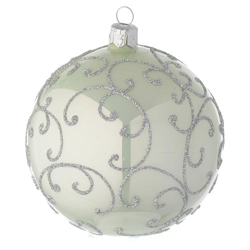 Bauble in pale green blown glass with silver decoration 100mm 2