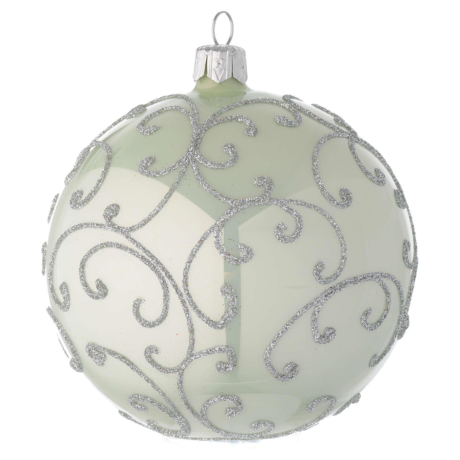 Bola de Navidad de vidrio soplado verde metalizado y plata 100 mm 4
