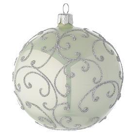 Bola de Navidad de vidrio soplado verde metalizado y plata 100 mm s1