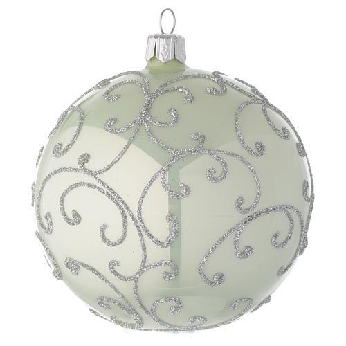 Bola de Navidad de vidrio soplado verde metalizado y plata 100 mm 1