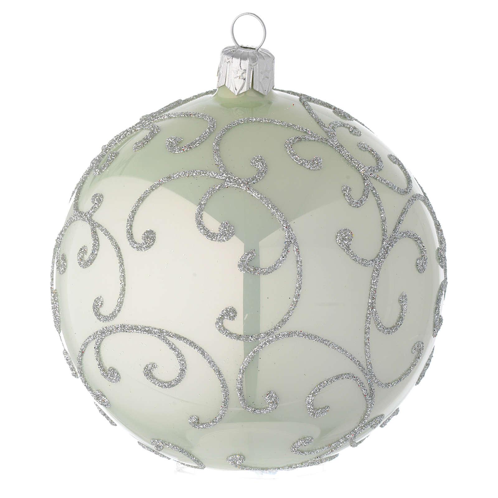 Boule en verre vert métallisé et argent 100 mm 4