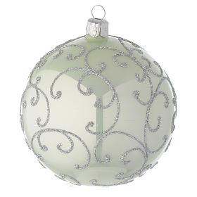 Boule en verre vert métallisé et argent 100 mm s2
