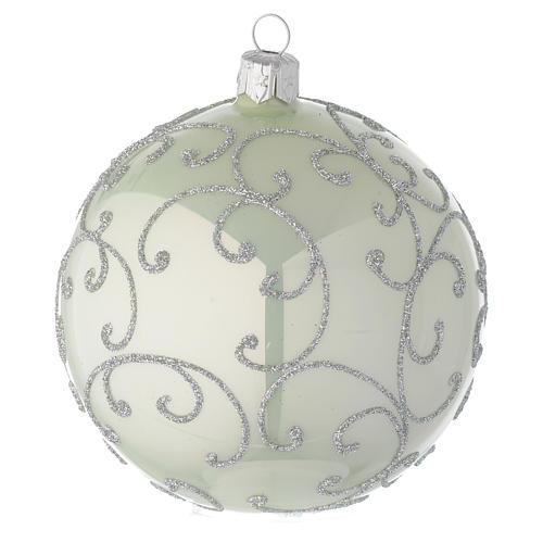 Boule en verre vert métallisé et argent 100 mm 2