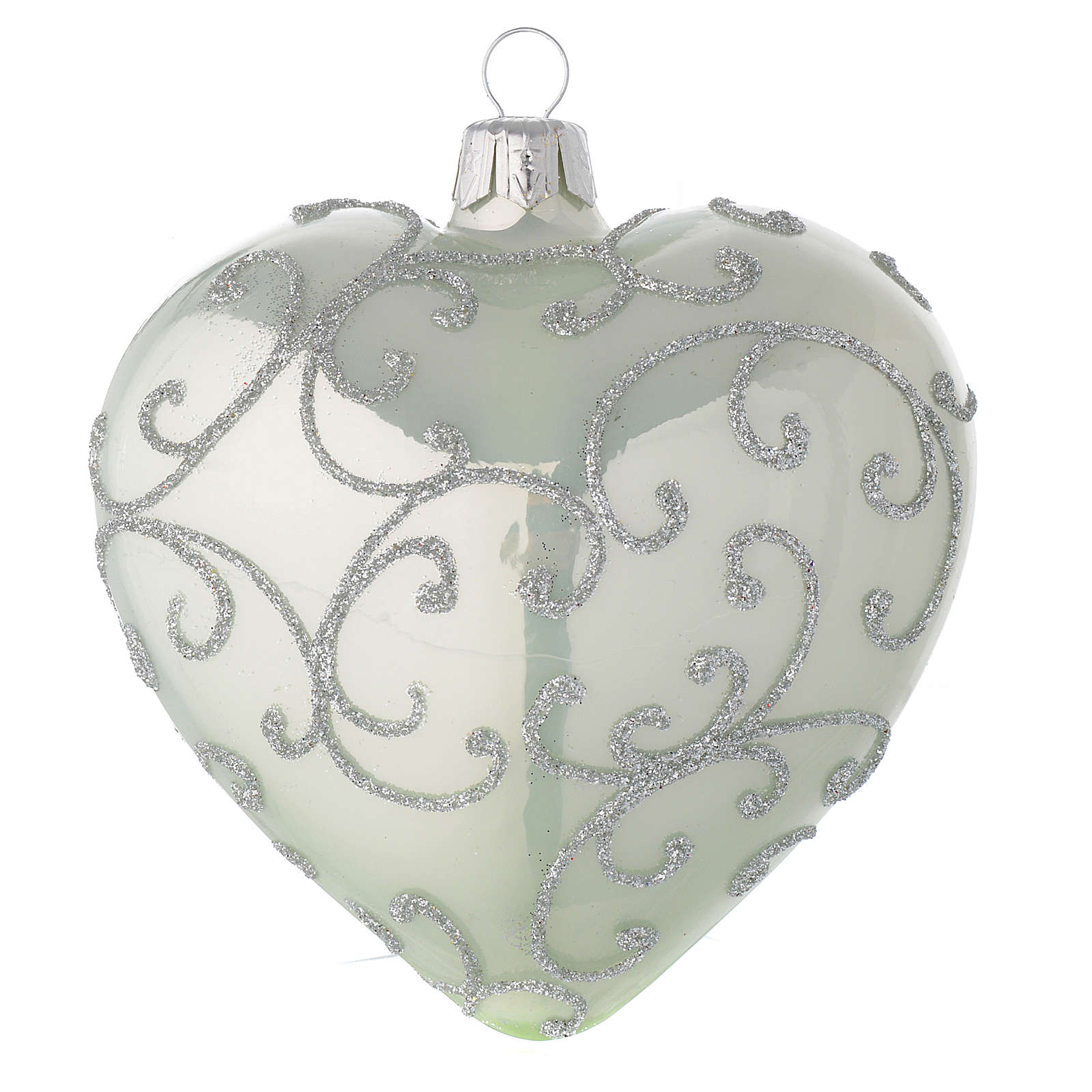 Heart Shaped Bauble in pale green blown glass with silver decoration 100mm 4
